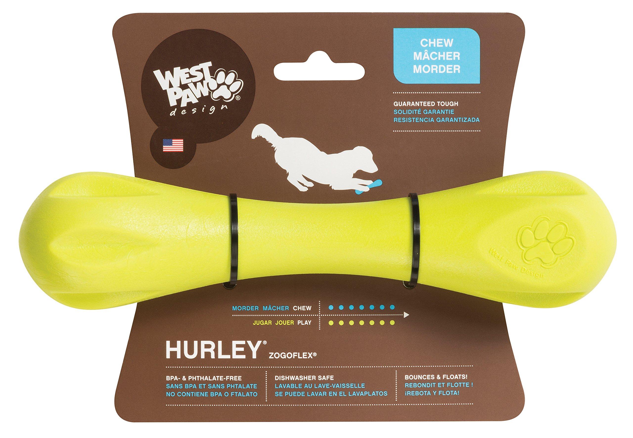 West Paw Design Zogoflex Hurley Guaranteed Tough Dog Bone Chew Toy Granny Smith