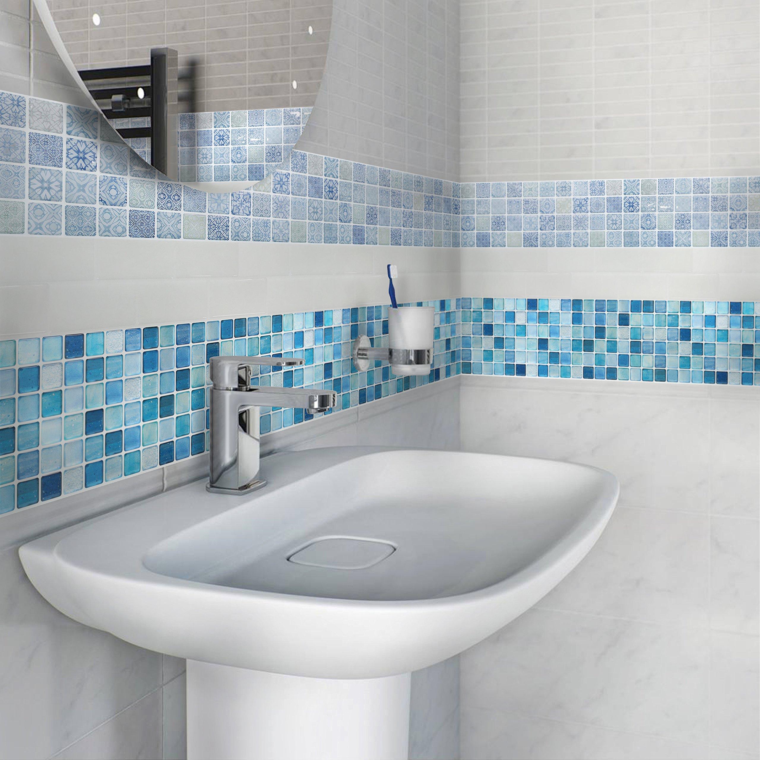BEAUSTILE Decorative Tile Stickers Peel and Stick Backsplash Fire Retardant Tile Sheet (N.Blue) (10, 5.28'' x 14.8'') by BEAUS TILE (Image #4)