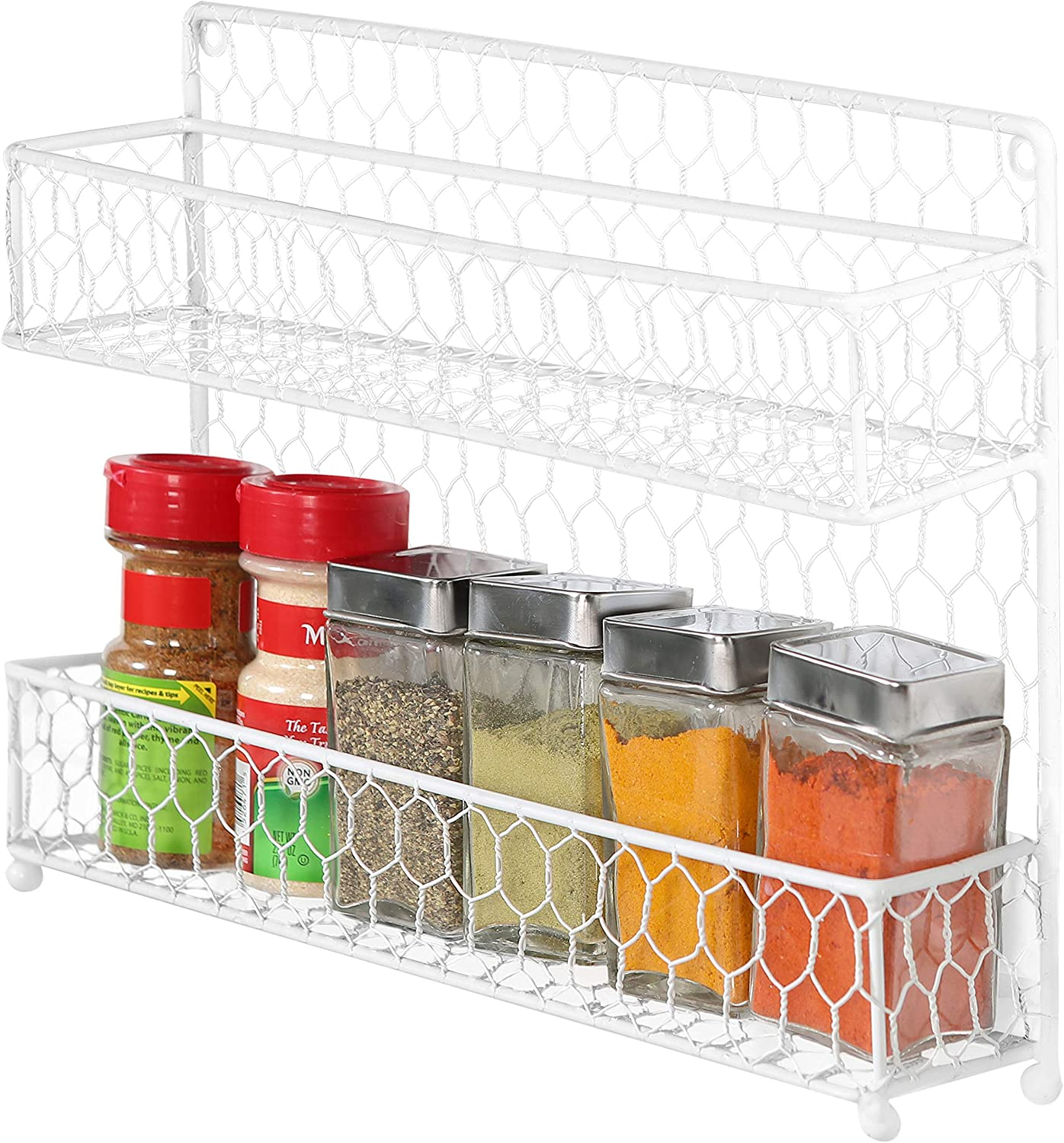 Black Rumcent Wire Wall Organizer Shelf 2-Tier Bathroom Shelf /& Spice Rack Multifunctional Storage Basket for Wall and Kitchen Countertop