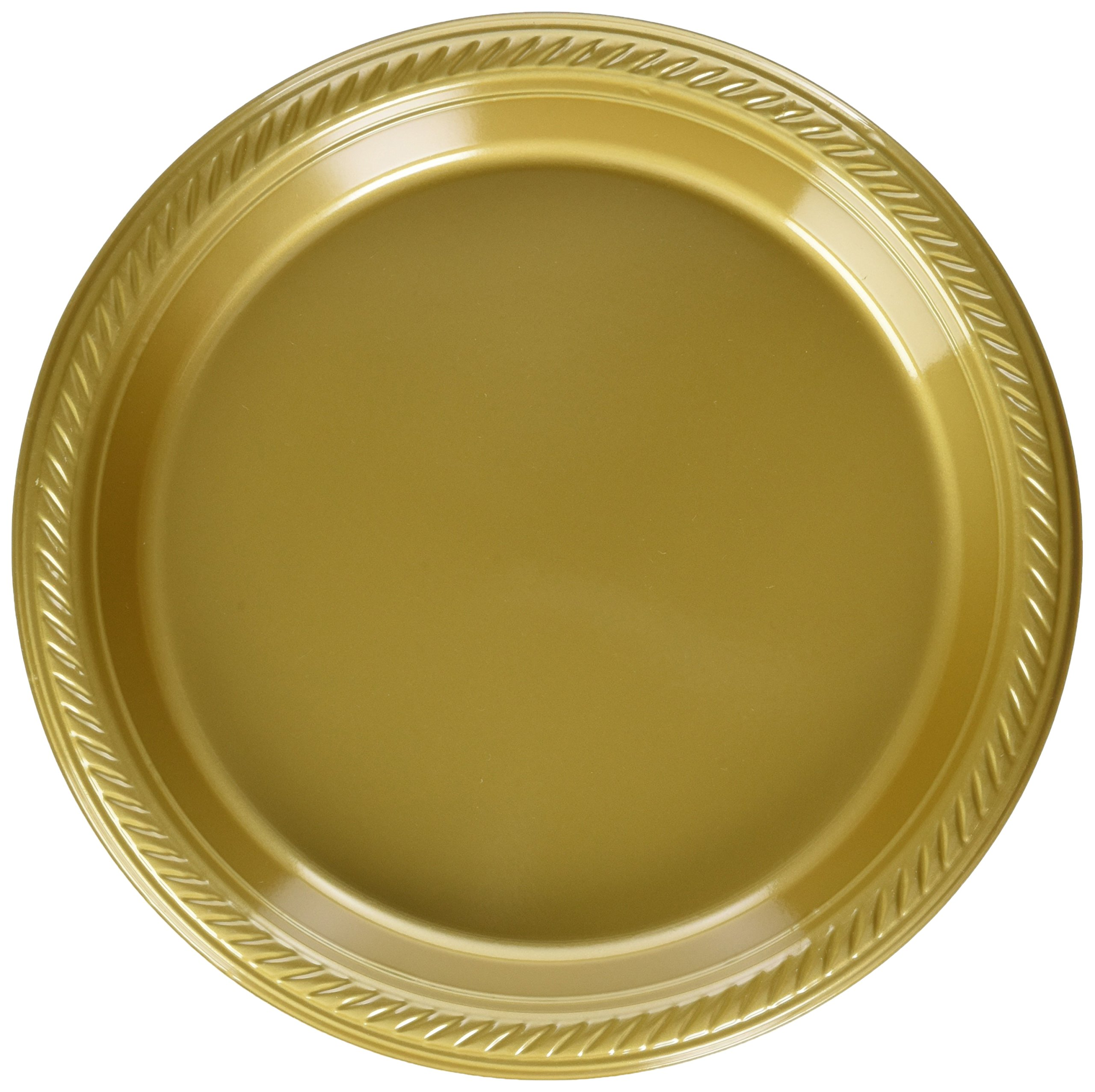 Amscan Big Saver Pack Dessert Plastic Plates Party Supplies (300 Piece), Gold, 7 inch