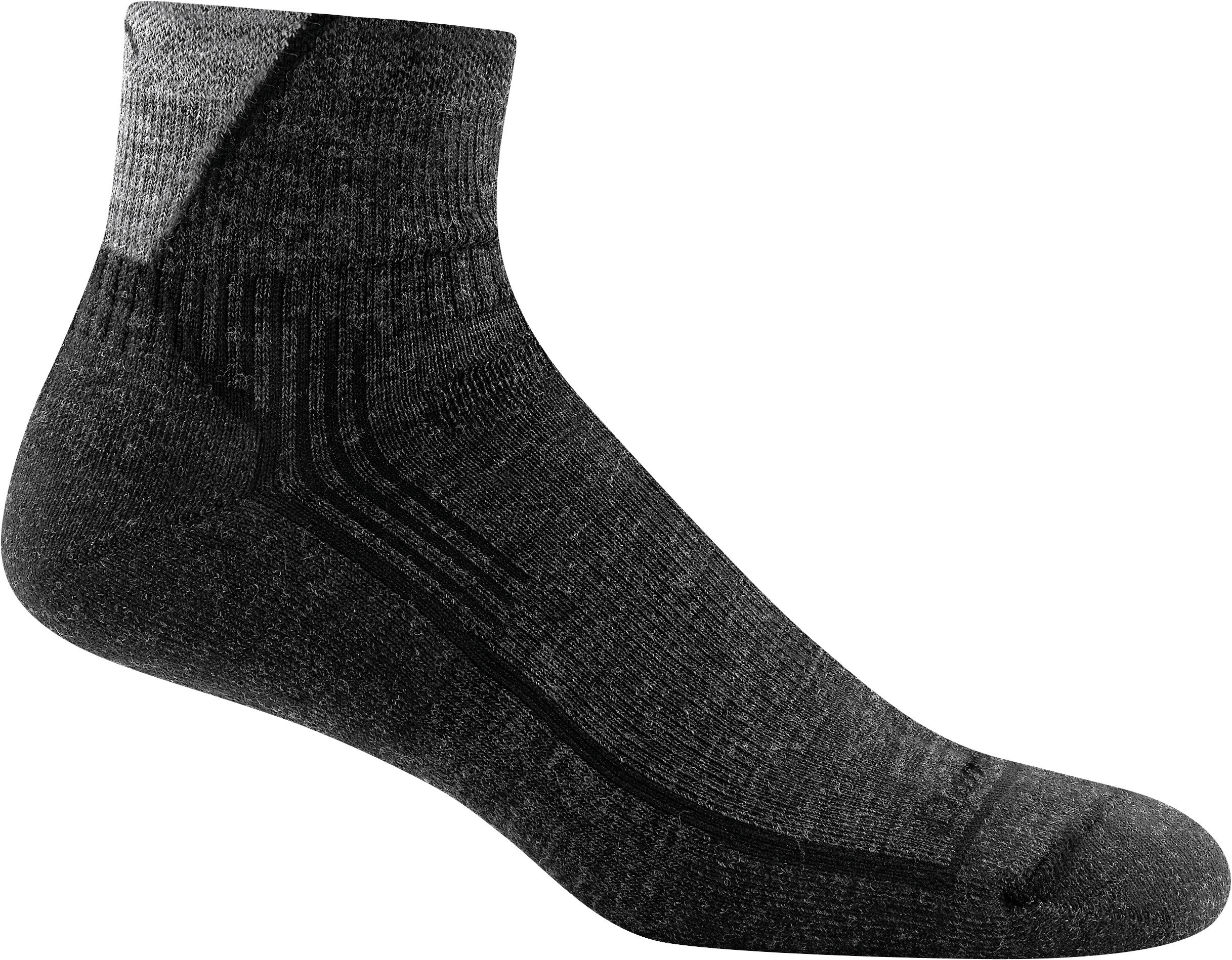 Darn Tough Men's Hiker 1/4 Sock Cushion (Style 1905) Merino Wool - 6 Pack Special (Black/Gray, Medium (8-9.5)) by Darn Tough