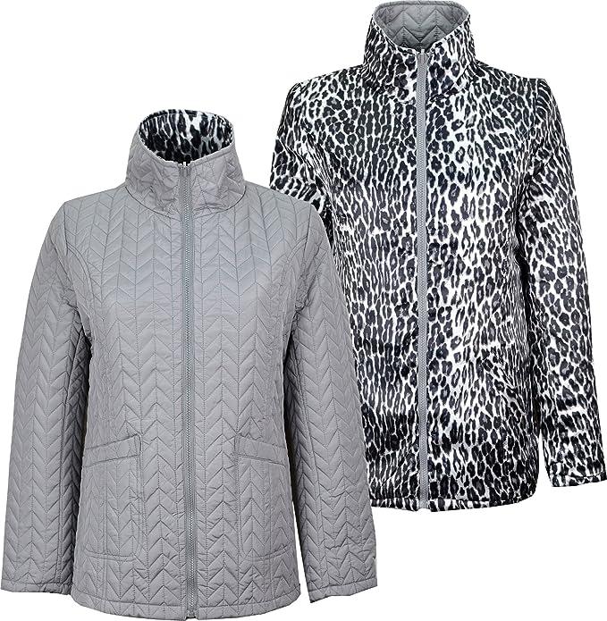 Mujer Reversible chaqueta acolchada abrigo lisa y Animal ...