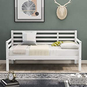 P PURLOVE Twin Daybed with Clean Lines, Wood Daybed Frame, White