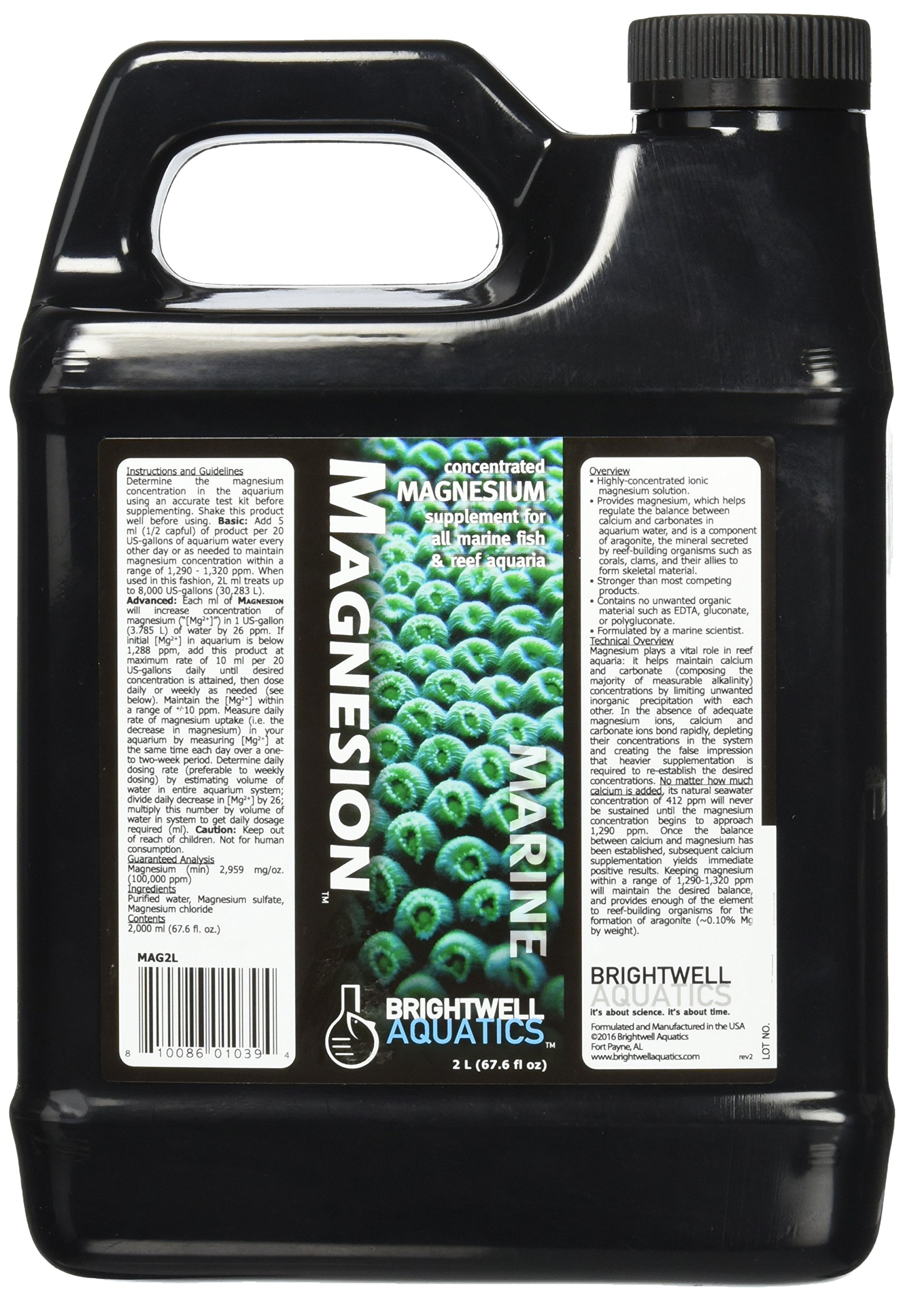 Brightwell Aquatics ABAMAG2L Magnesion Liquid Salt Water Conditioners for Aquarium, 67-Ounce