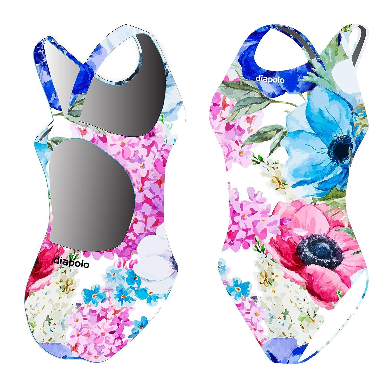 Diapolo Painted Flowers Badeanzug Flowers Kollektion für Schwimmen Synchronschwimmen Wasserball Thriathlon