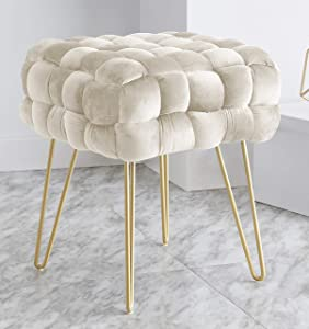 Ornavo Home Mirage Modern Contemporary Square Woven Upholstered Velvet Ottoman with Gold Metal Legs - Cream