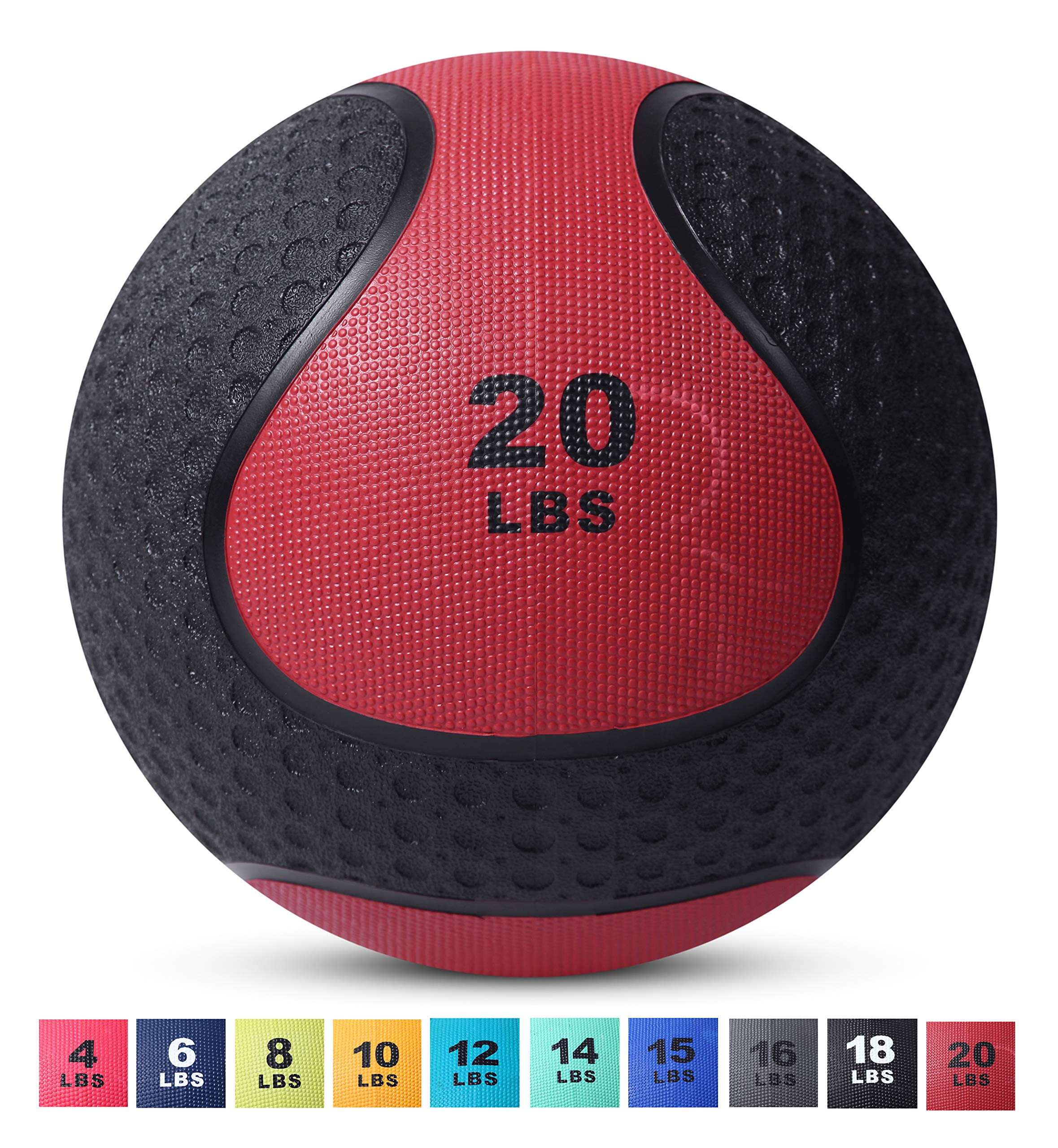 Day 1 Fitness Medicine Exercise Ball with Dual Texture for Superior Grip 20 Pounds - Fitness Balls for Plyometrics, Workouts - Improves Balance, Flexibility, Coordination