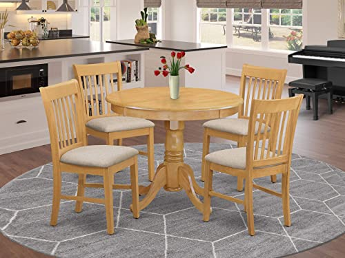 East West Furniture ANNO5-OAK-C 5 Pieces Set 4 Room Chair