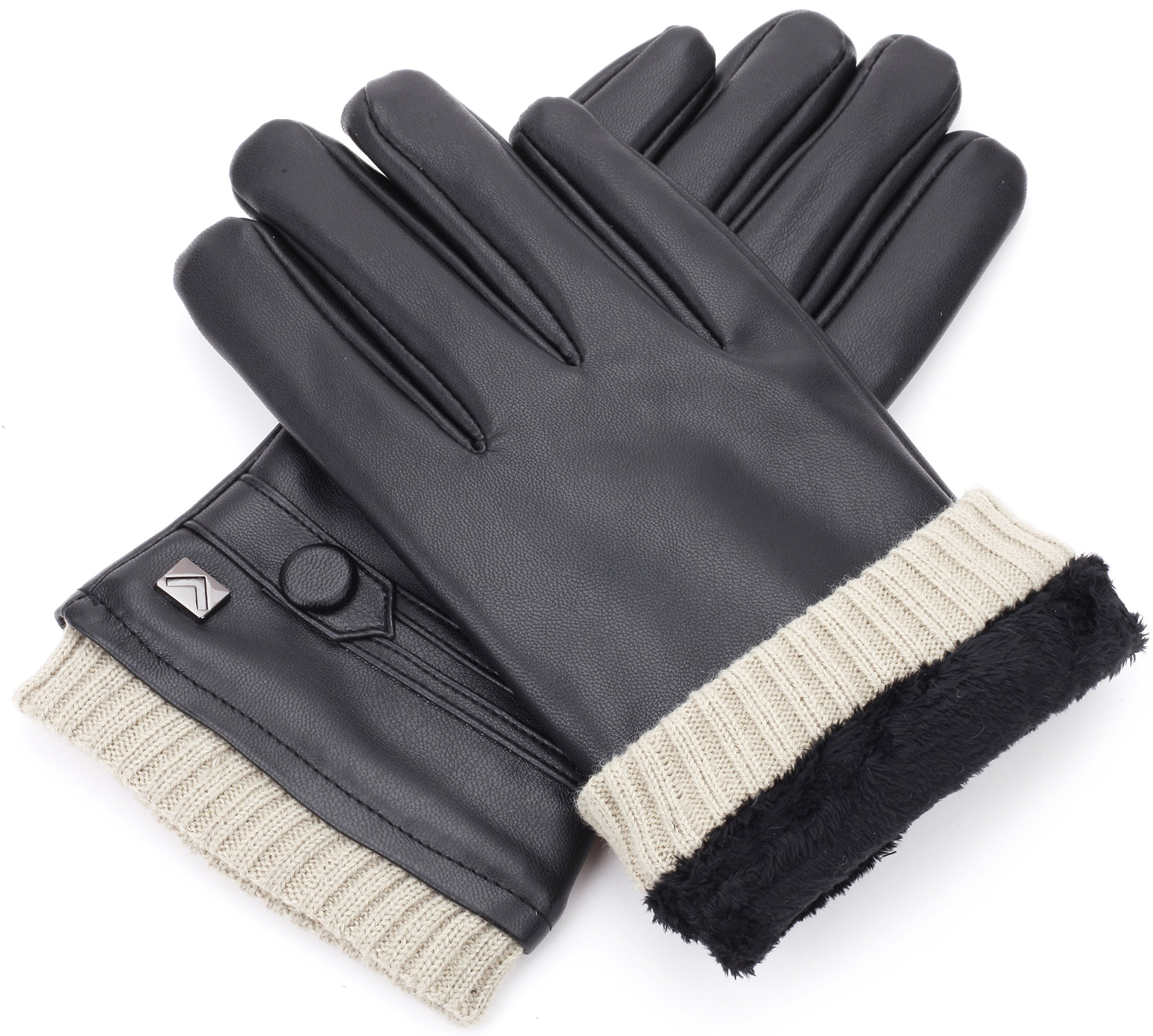 Gallery Seven Mens Faux Leather Warm Winter Gloves - Touch Screen Texting Glove - Gift Wrapped - Black Fine Button Style - Small by Gallery Seven (Image #4)