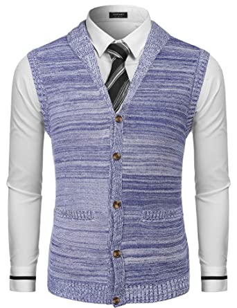 fae0dd983 COOFANDY Men s Casual Slim Fit Sweater Sleeveless Button Down Shawl Collar Knitted  Cardigan Vest Blue