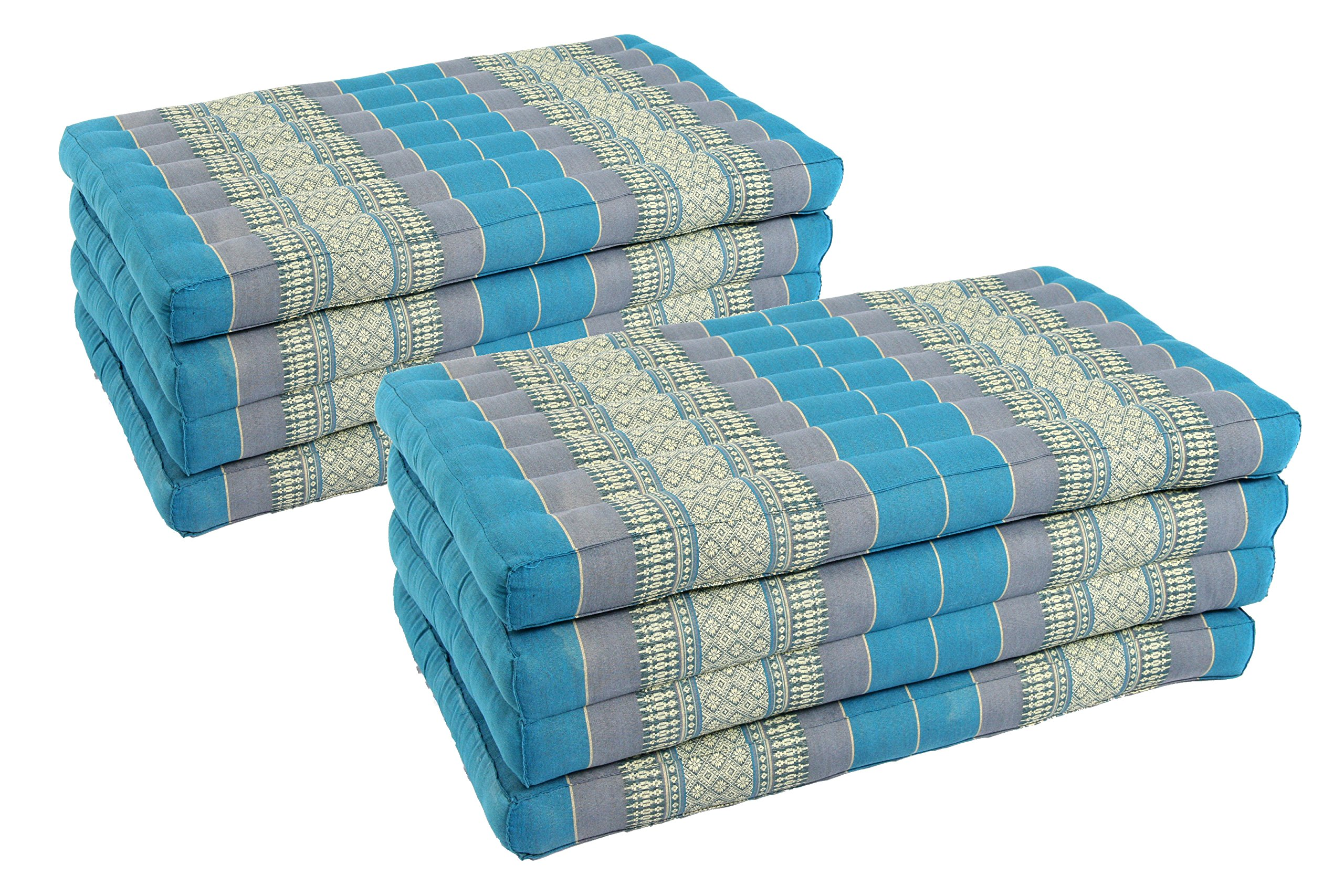 Pack: 2x 4-Fold Mattress (79x32inches), Traditional Thai Design SkyBlues, (100% Kapok filling)