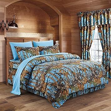 Amazoncom The Woods Powder Blue Camouflage Queen 8pc Premium
