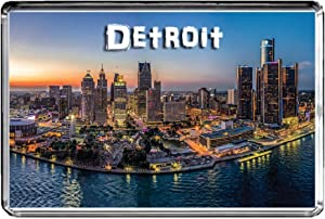 USA E348 Detroit Fridge Magnet Travel Photo Refrigerator Magnet