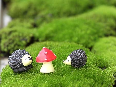 Miniature Hedgehogs /& Mushrooms Fairy Garden Accessories Pack of 6