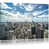 New York City skyline, painting on canvas, XXL Pictures completely framed with large wedge frames, wall picture art print with frame, cheaper than painting or an oil painting, not a poster or placard, Leinwand Format:120x80 cm