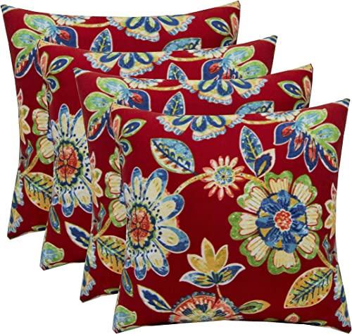 Set of 4 Indoor/Outdoor 17″ Square Decorative Throw Pillow