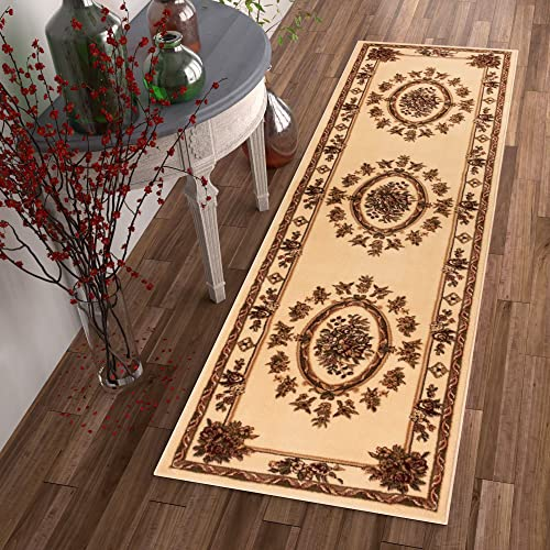 Pastoral Medallion Ivory French European Formal Traditional 2×7 2 3 X 7 3 Runner Rug Stain Fade Resistant Contemporary Floral Thick Soft Plush Hallway Entryway Living Dining Room Area Rug