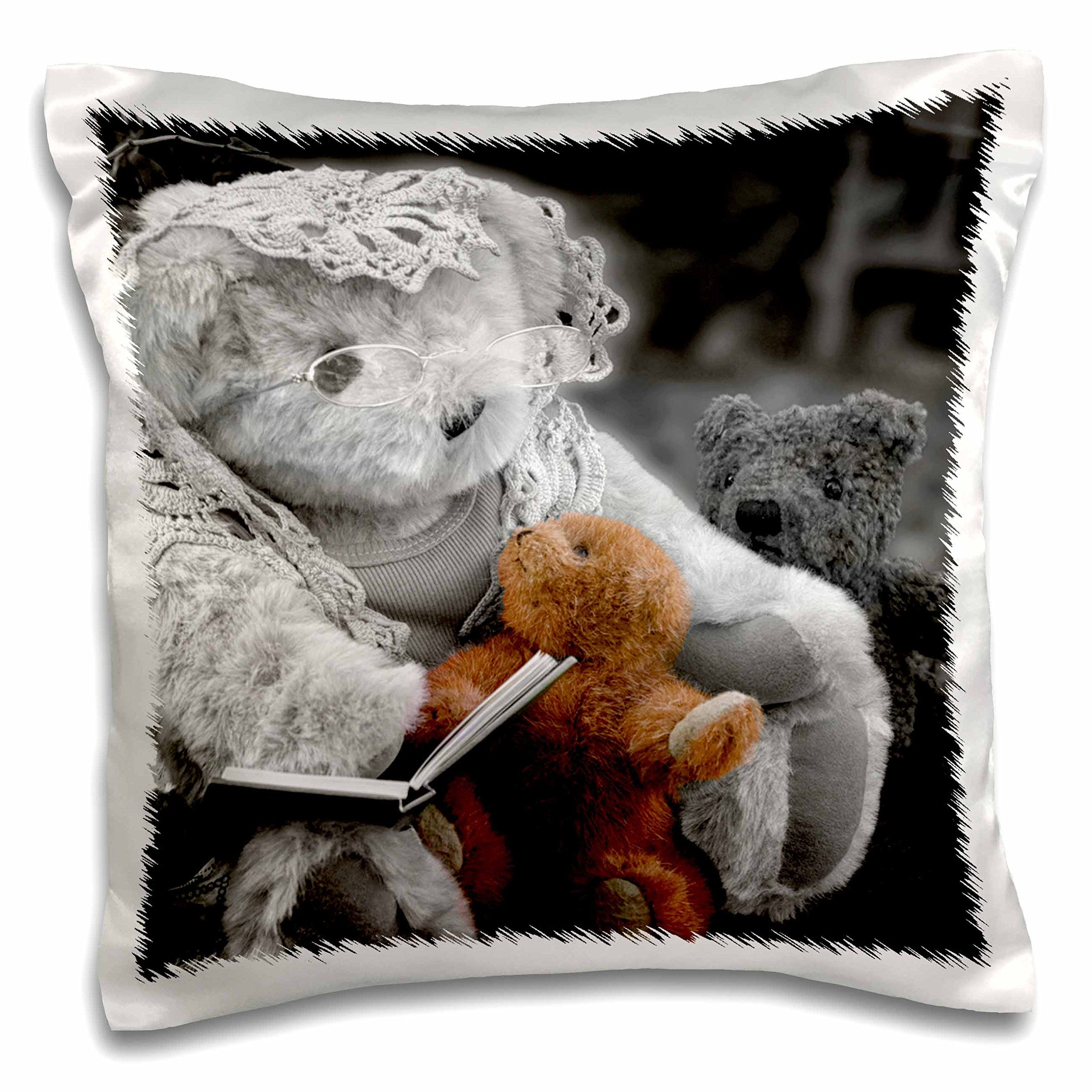 3dRose Grandmother Teddy Bear Reading to Children - Pillow Case, 16 by 16-inch (pc_164750_1)
