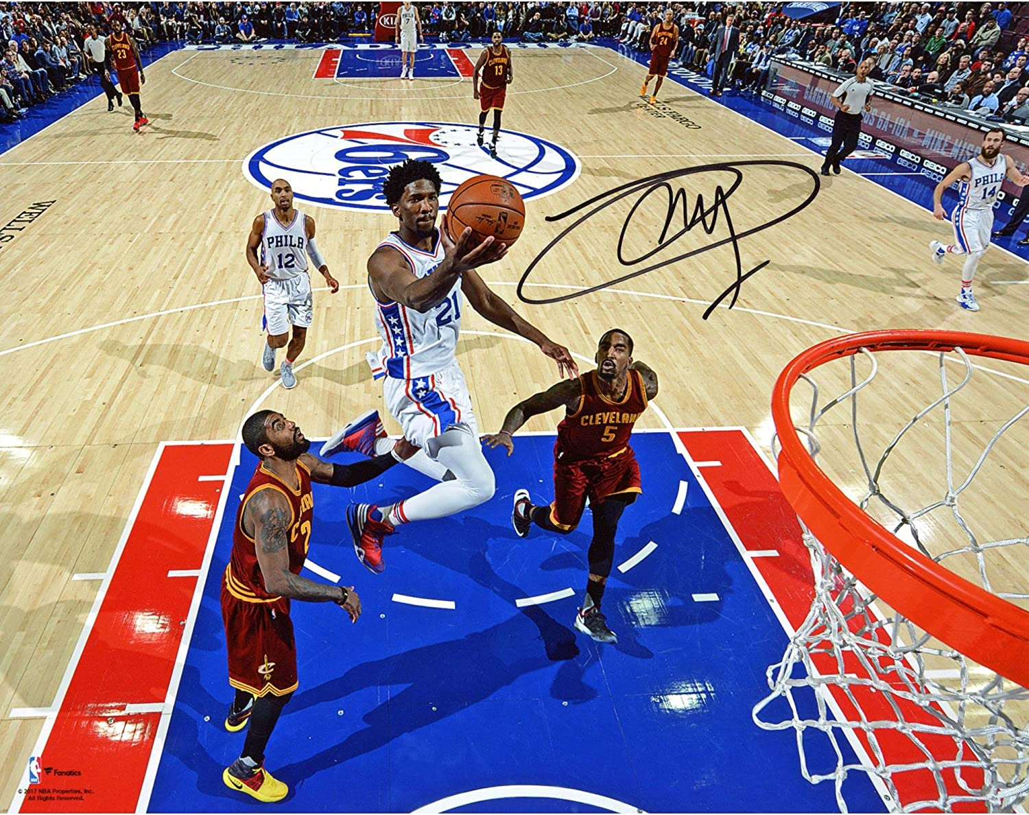 Joel Embiid Philadelphia 76ers Autographed 8' x 10' Lay-Up Photograph - Fanatics Authentic Certified