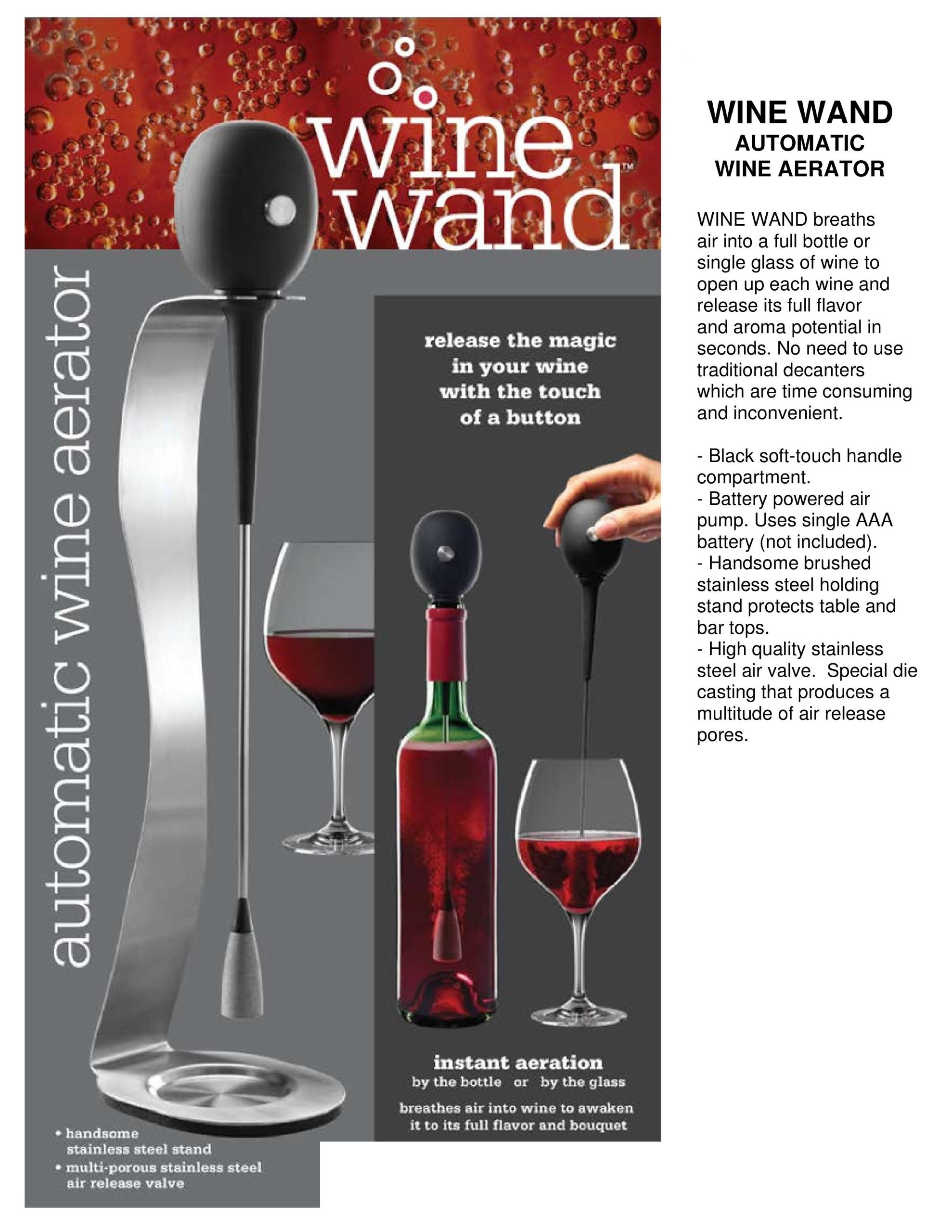 Prodyne Wine Wand Automatic Wine Aerator with Stainless Steel Stand