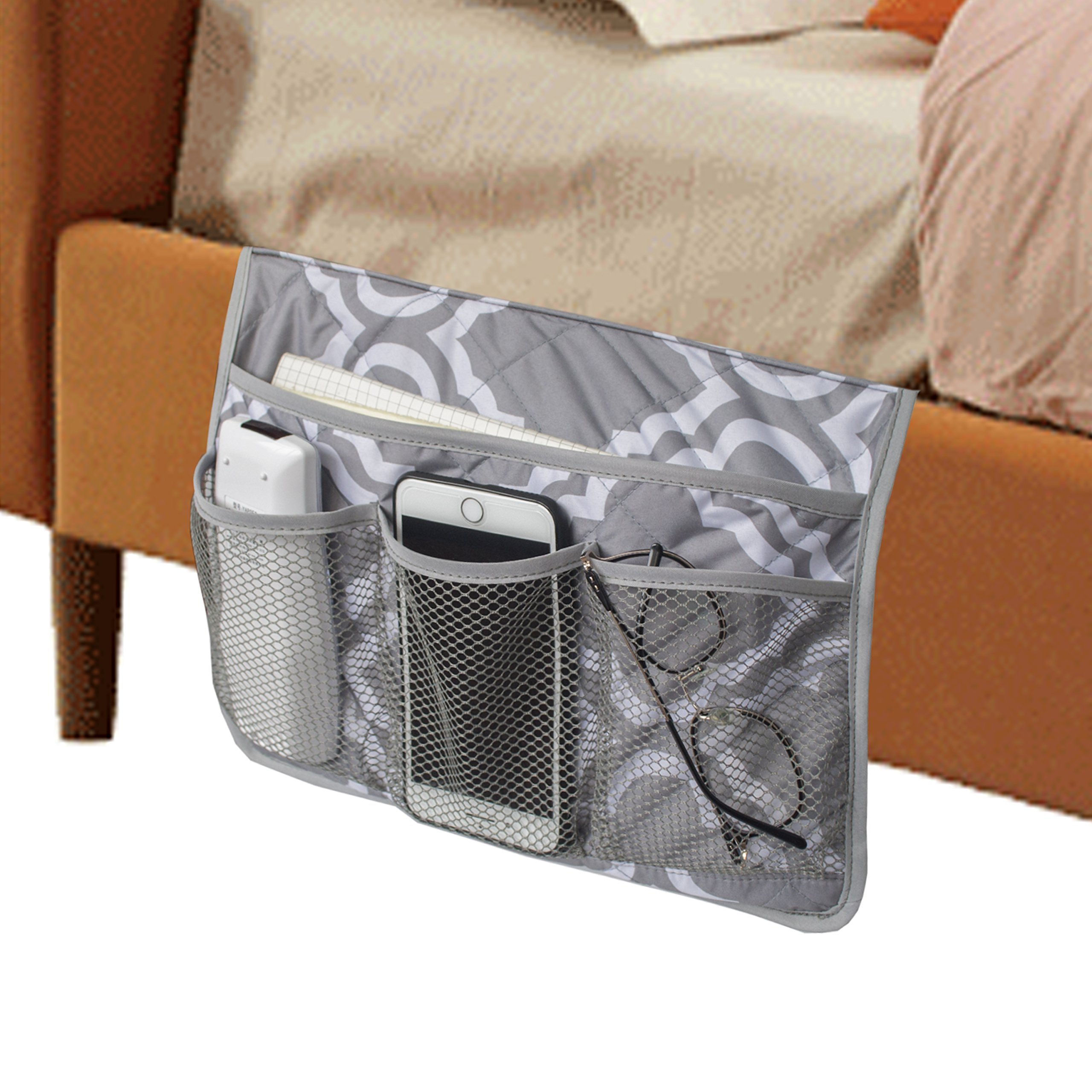 MDSTOP Bedside Caddy, Bedside Storage Bag, Under Couch Table Mattress Organizer, Fits for Book Tablet Magazine Phone Remotes Glasses (Grey) by MDSTOP