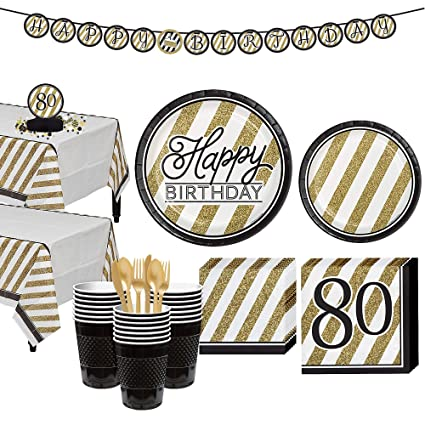 Amazon Party City White And Gold Striped 80th Birthday