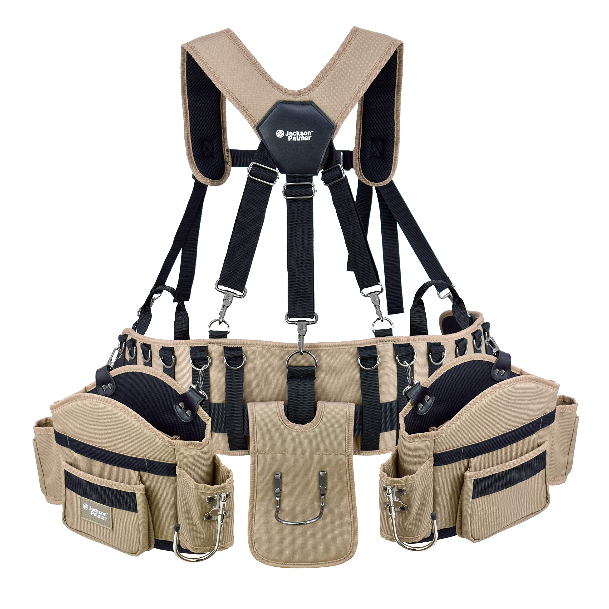 Jackson Palmer Professional Comfort-Rig Tool Belt With Suspenders (Adjustable System with 2-Power Tool Hooks) by Jackson Palmer