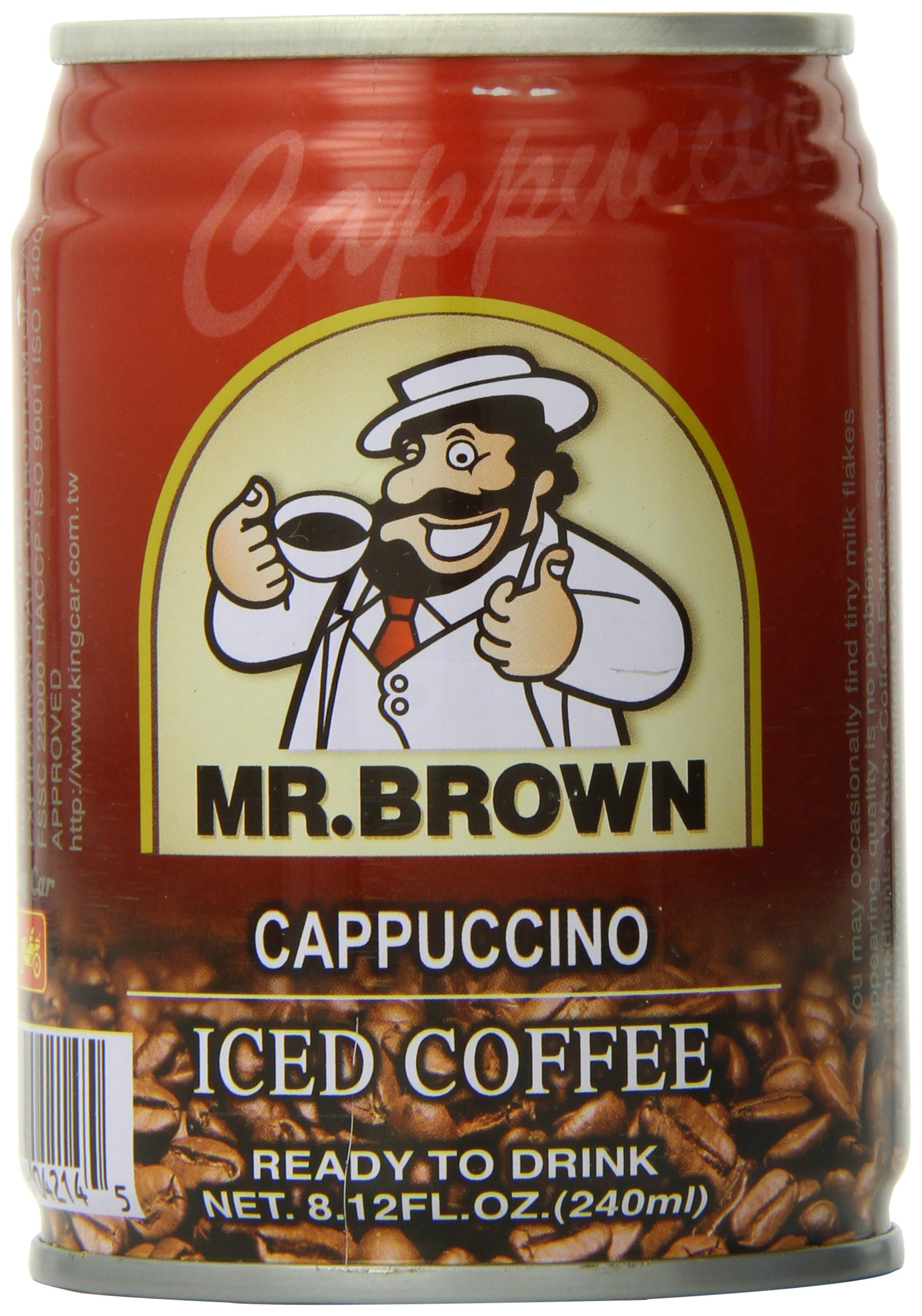 Mr. Brown Iced Coffee, Cappuccino, 8.12 Ounce (Pack of 24)
