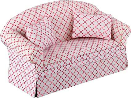 PINK FLORAL LIVING ROOM SOFA AND ARMCHAIR FURNITURE SET 12th SCALE DOLLS HOUSE
