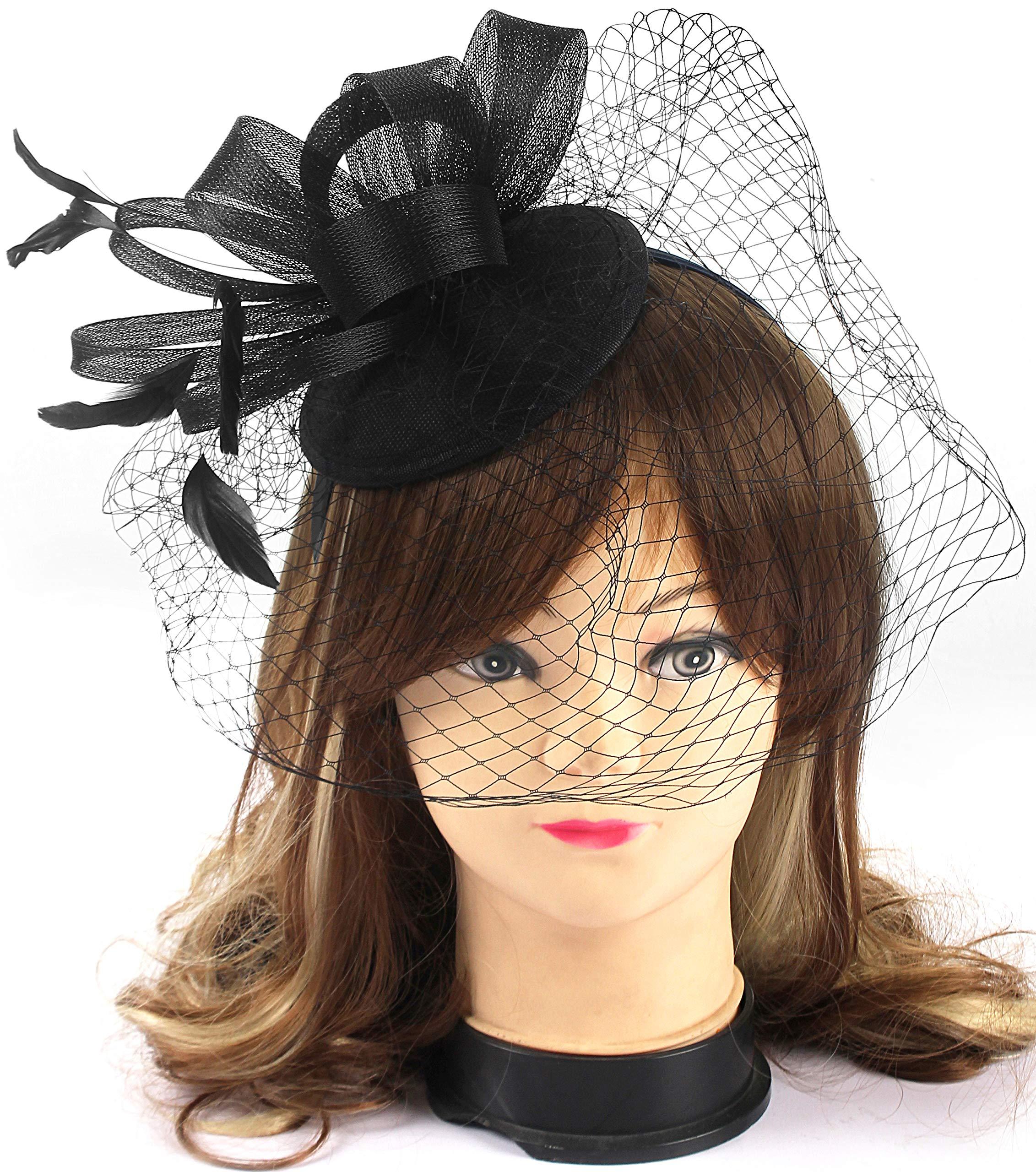 Myjoyday Fascinator Hats Flower Mesh Feather Tea Party Headband Wedding Cocktail Clip Headwear for Girls and Women (Black)