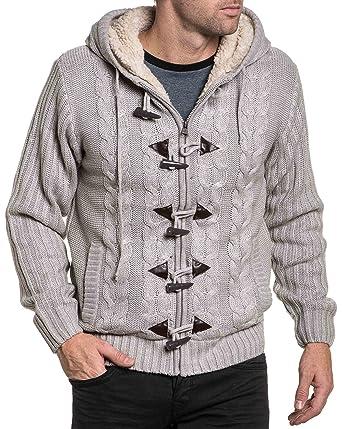 500530bbed22c BLZ Jeans - Gilet Homme fourré Beige zippé et Boutons Brandebourg - Couleur:  Gris -