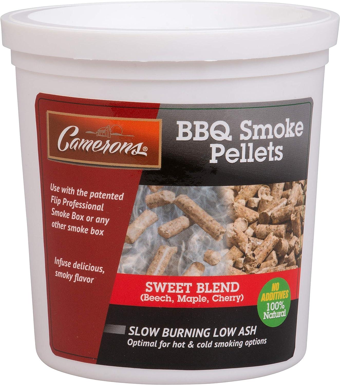 Camerons Smoking Wood Pellets (Sweet Blend)- Kiln Dried BBQ Pellets- 100% All Natural Barbecue Smoker Fuel- 1 Pint Bucket