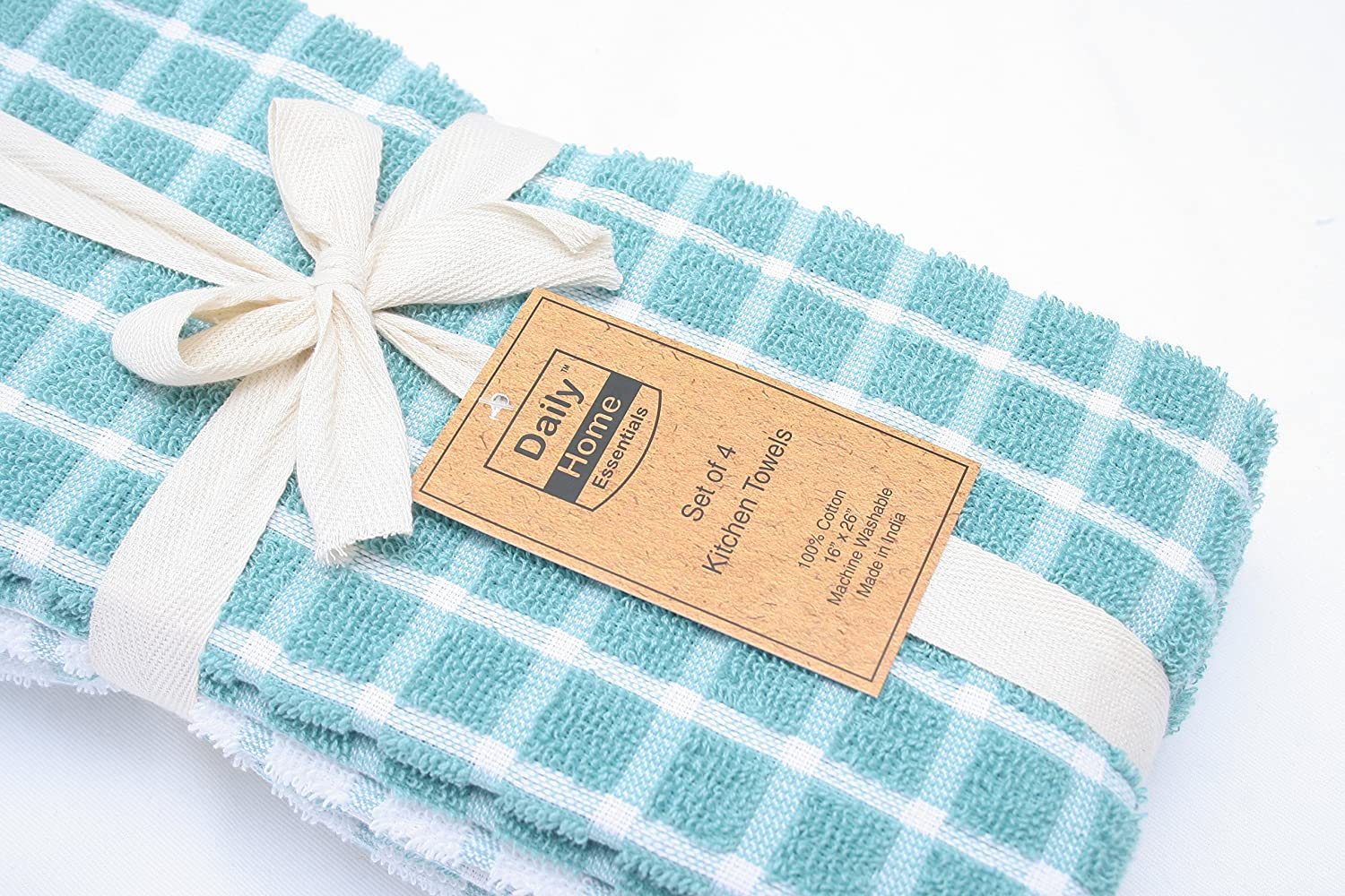 Amazon.com: Daily Home Essentials 4 Pack Checked Terry Kitchen Towel ...