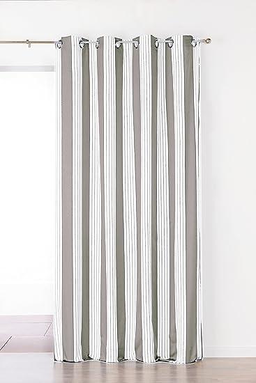 Linder 1549/28/375FR Vorhang gestreift Polyester 150 x 265 cm, grau ...