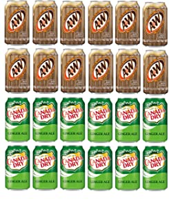 LUV-BOX Variety Soda pack , pack of 24 , 12 fl oz , A&W ROOT BEER , CANADA DRY GINGER ALE