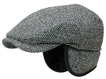 88b75a00a8a Wigens Flatcap Schirmmütze aus Harris Tweed mit Ohrenklappen anthrazit   Amazon.de  Bekleidung