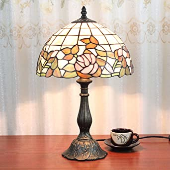 Pouces Pastoral Style De Rose Tiffany 12 Pink Vintage Vitrail Lampe l1TKJcF