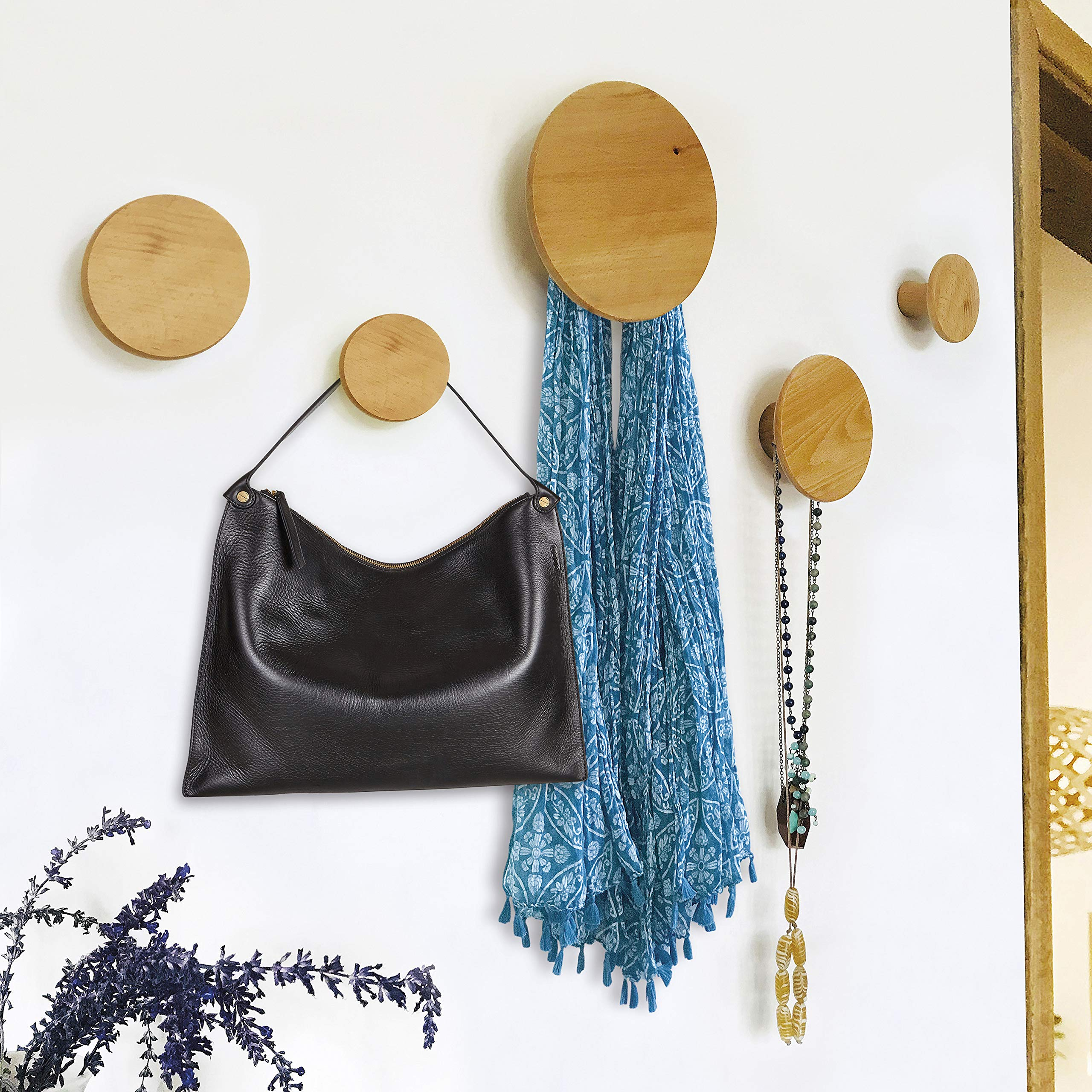 Wall Hooks, Coat Hooks Wall Mounted, Wood Hooks 5-Piece Set, Organizer Hangers, Dot Hooks, Wall Decorations for Hanging Scarves, Bags, Clothes and More. by The Bower Home Traders