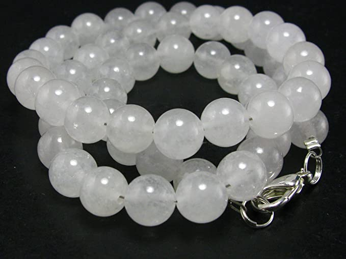 Genuine White Azeztulite Stone Necklace Earrings Bracelet Round 14mm Beads Set from North Carolina One-of-A-Kind!