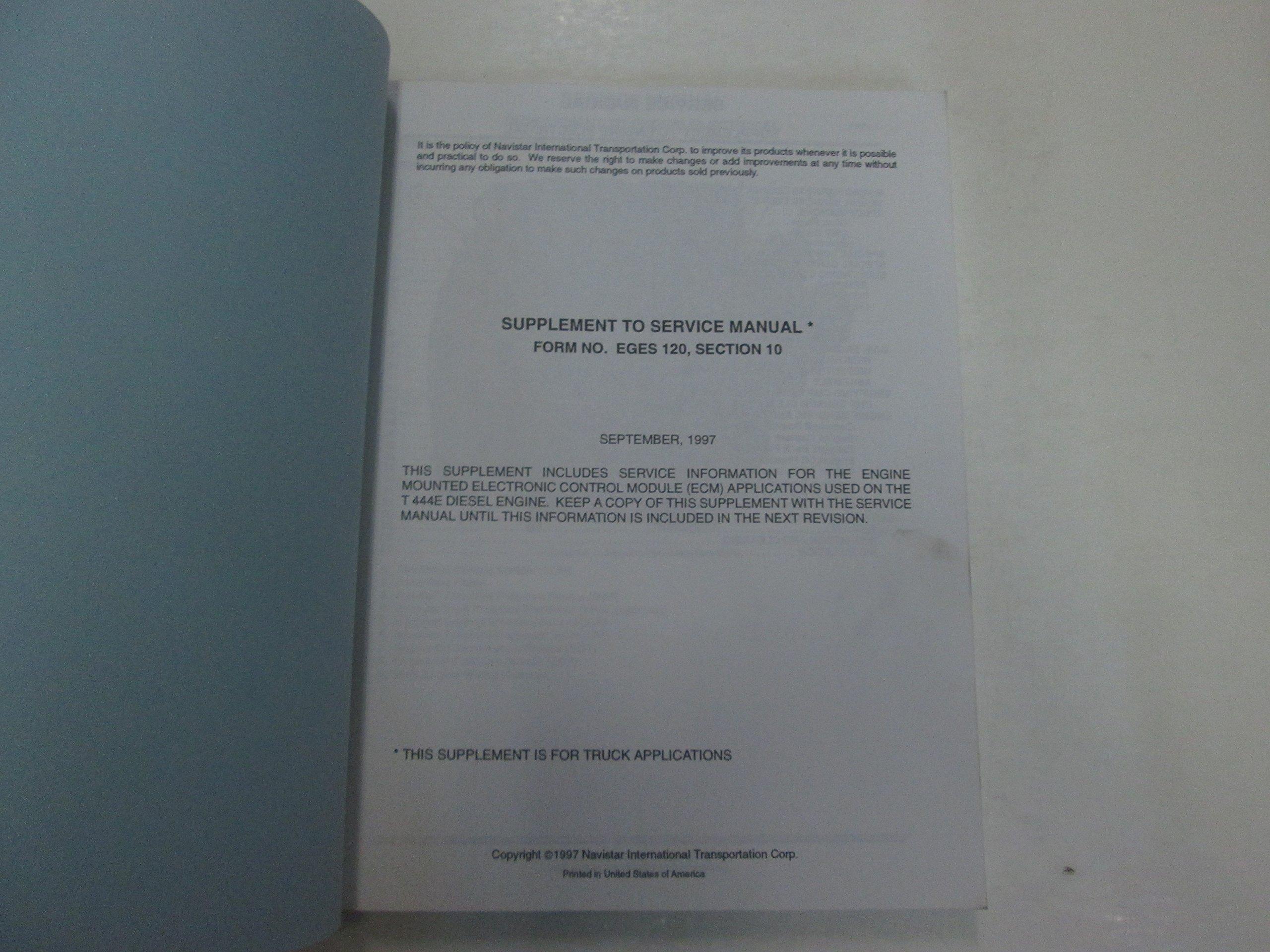 International EGES 120 160-1 CT-471 Electronic Engine Testing Reference  Manual: International, International Trucking: Amazon.com: Books