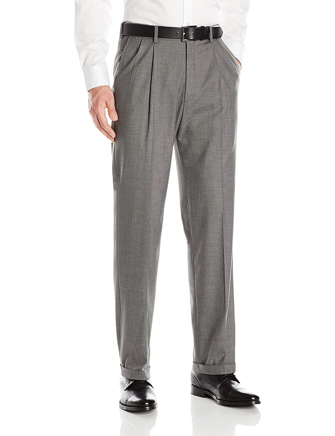Men's Vintage Pants, Trousers, Jeans, Overalls J.M. Haggar Mens Premium Stretch Classic Fit Pleat Front Pant $57.39 AT vintagedancer.com