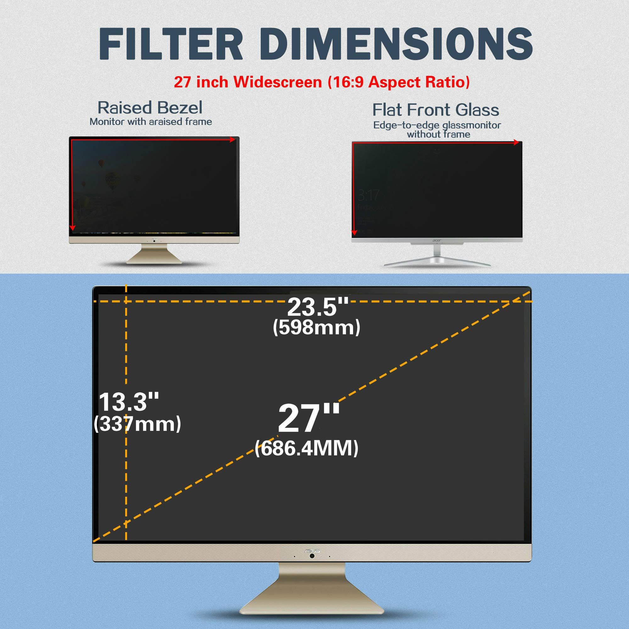 SKYLARKING 27 inches Computer Privacy Screen Filter, Anti-Spy Anti-Glare Screen Protector Film Compatible 27'' Widescreen Computer LCD Monitor with Aspect Ratio 16:9 (598mm x 337mm) by Skylarking (Image #8)