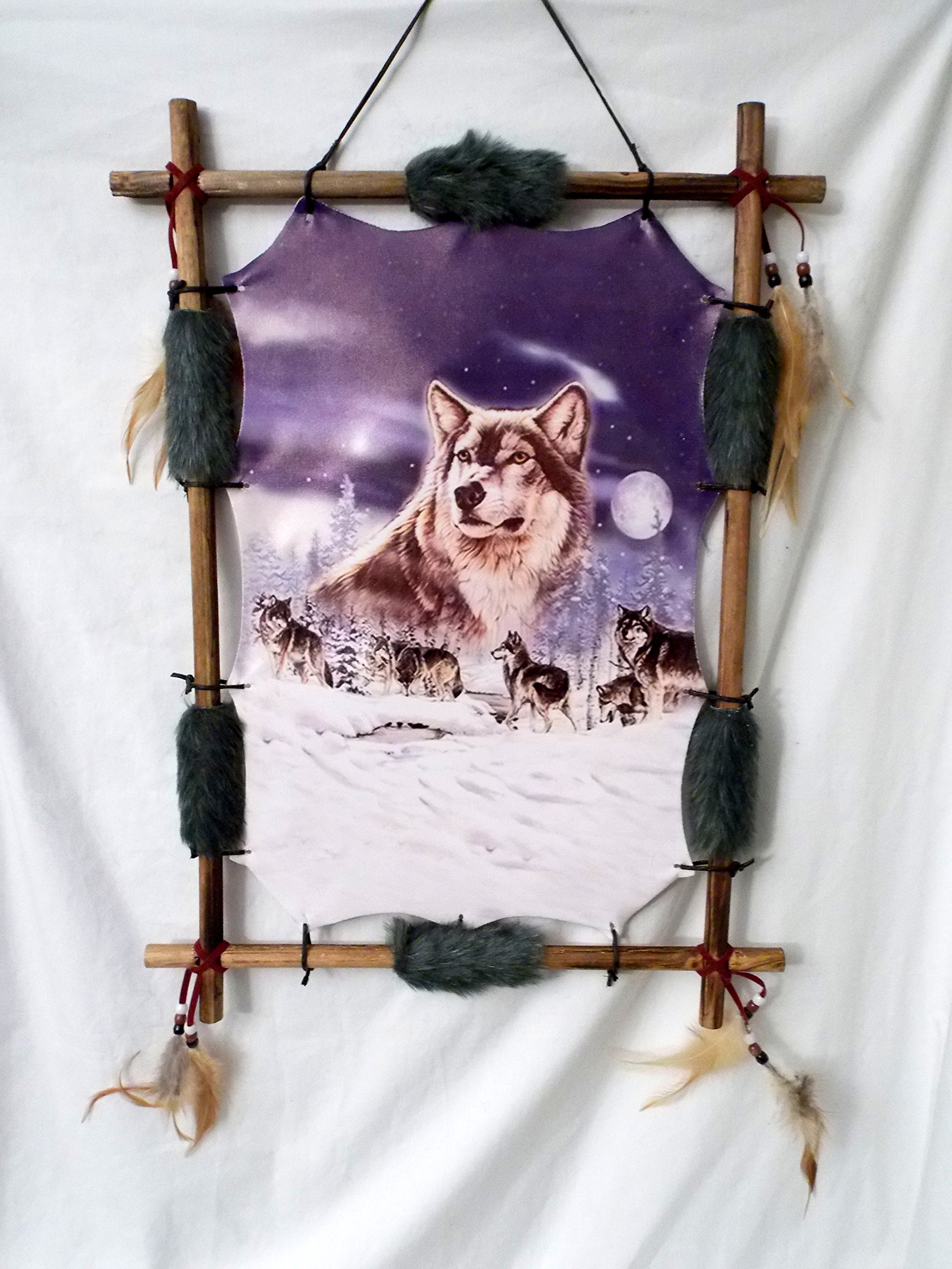 New Grey Wolf Pack in a Snow covered Birch Tree Forest Wood Frame Dream Catcher 22'' x 16'' by Dreamcatcher (Image #2)