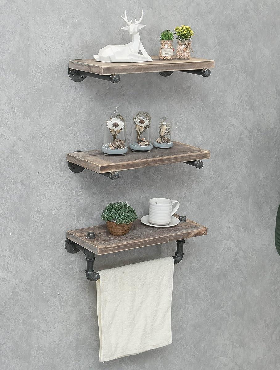 Industrial Pipe Shelving Shelves Bookcase Rustic Wood Metal Wall Mounted Towel Bar Hanging Storage Racks Floating Wood Shelves