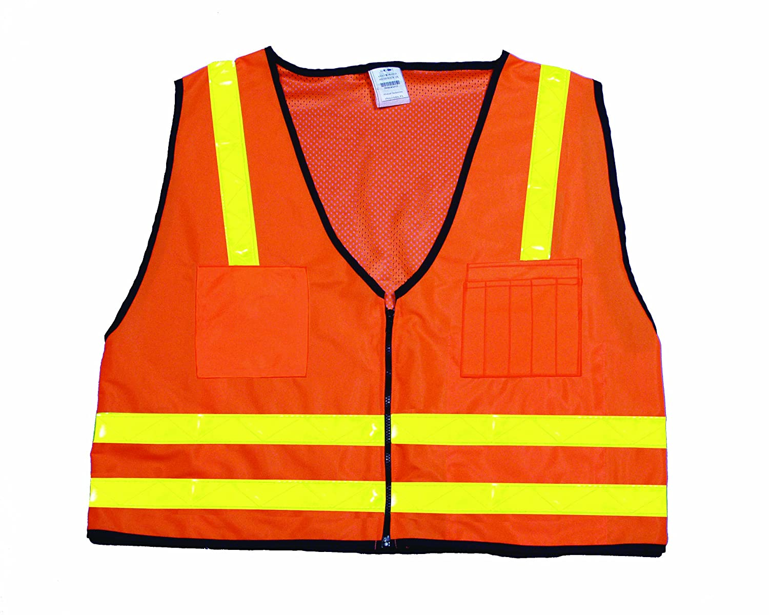 Mutual 16310 High Visibilty Polyester ANSI Class 2 Mesh Back Surveyor Safety Vest with Multiple Pockets Lime 3X-Large