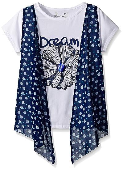 10c167863a471 Dream Star Girls  Big Short Sleeve Top with Floral Chiffon Vest 2-fer