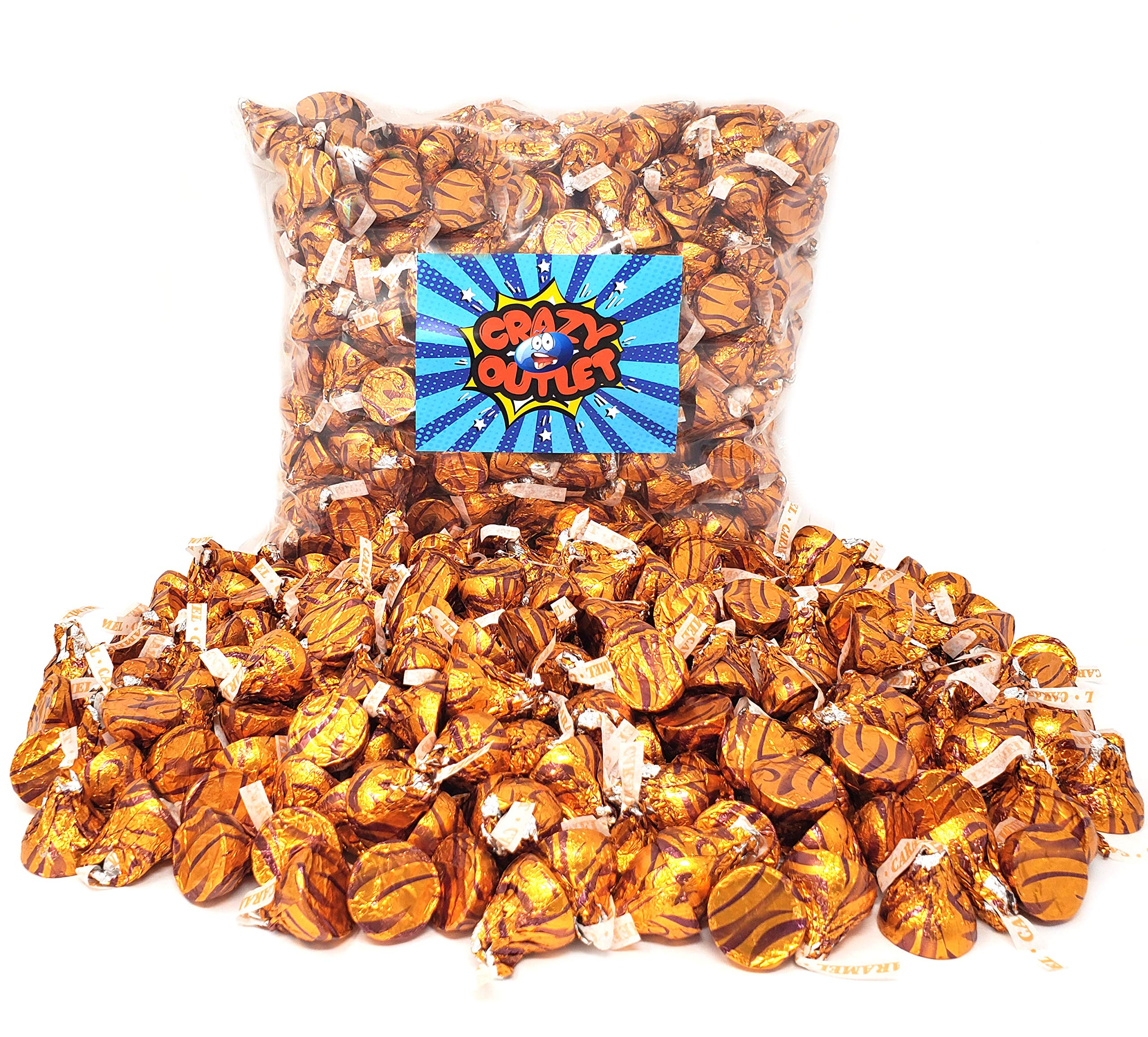 CrazyOutlet Pack - Hershey's Kisses Milk Chocolate Filled with Caramel Candy, Gold Foil Bulk Pack, 5 lbs by CRAZYOUTLET