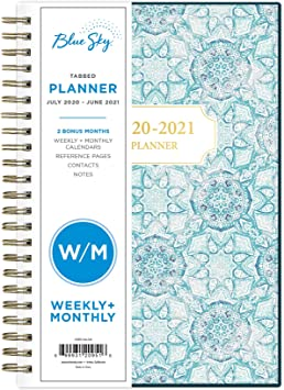 Blue Sky Weekly /& Monthly Tabbed Planner 2020-2021 New