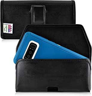 product image for Turtleback Holster Made for Samsung Note 8 with OB Defender case Black Belt Case Leather Pouch with Executive Belt Clip Horizontal Made in USA