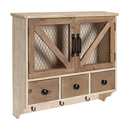 Amazon.com: Kate And Laurel Hutchins Farmhouse Wooden Wall Cabinet With  Chicken Wire 2 Door Front, Rustic And White Washed Finish: Kitchen U0026 Dining